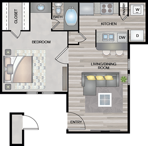 A1 - One Bedroom / One Bath - 554 Sq. Ft.*