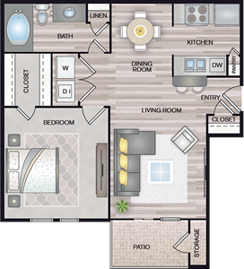A2 - One Bedroom / One Bath - 667 Sq. Ft.*