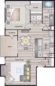 A3 - One Bedroom / One Bath - 765 Sq. Ft.*