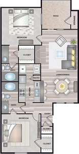 B2 - Two Bedrooms / Two Baths - 965 Sq. Ft.*